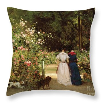 Promenade Throw Pillow by Constant-Emile Troyon