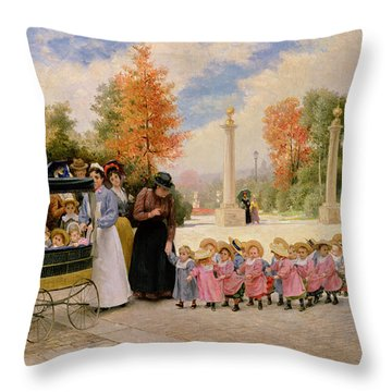 Promenade Des Enfants  Throw Pillow by Timoleon Marie Lobrichon