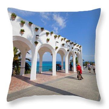 Promenade In Nerja Throw Pillow