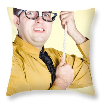 Promoted Employee Climbing Up Corporate Rope Throw Pillow