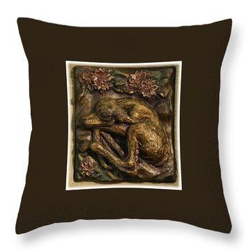 Throw Pillow featuring the sculpture Pronghorn Newborn With Bitterroot by Dawn Senior-Trask