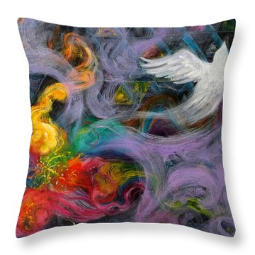 Prophetic Message Sketch Painting 10 Divine Pattern Dove Throw Pillow by Anne Cameron Cutri