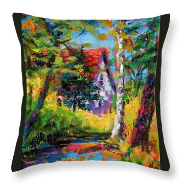 Throw Pillow featuring the painting Prospect Driveway by Les Leffingwell