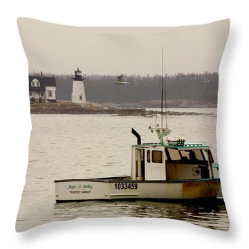Prospect Harbor Lighthouse Throw Pillow