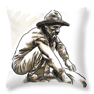 Throw Pillow featuring the drawing Prospector by Antonio Romero