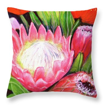 Protea Flowers #240 Throw Pillow by Donald k Hall