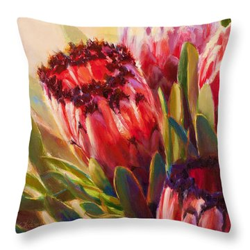 Throw Pillow featuring the painting Protea - Tropical Flowers From Hawaii by Karen Whitworth