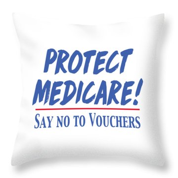 Throw Pillow featuring the drawing Protect Medicare by Heidi Hermes
