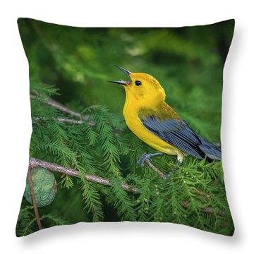 Prothonatory Warbler 9809 Throw Pillow