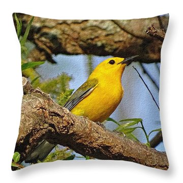 Prothonotary Warbler II Throw Pillow