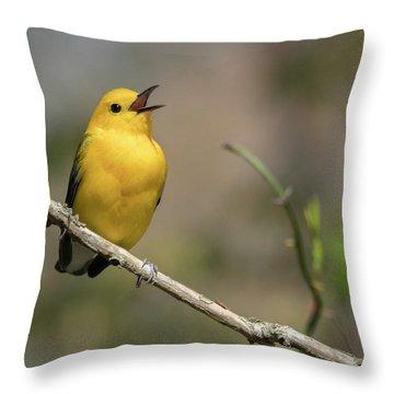 Prothonotary Warbler Singing Throw Pillow