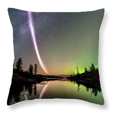 Rare Super Heated Aurora Stream Reflects In Mountain Lake Throw Pillow