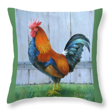 Throw Pillow featuring the painting Proud Rooster by Oz Freedgood