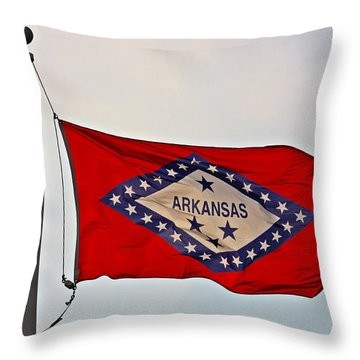 Proud To Be An Arkansan- Fine Art Throw Pillow by KayeCee Spain