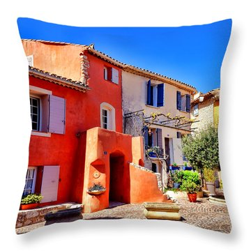 Provencal Plaza Throw Pillow by Olivier Le Queinec