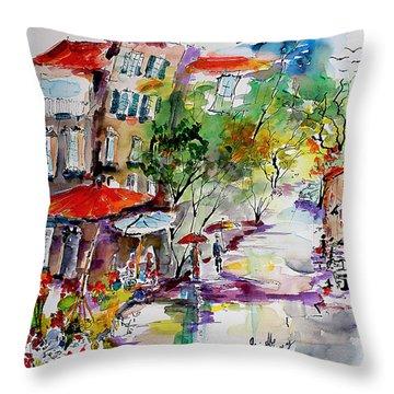 Provence Flower Market Summer Rain Throw Pillow