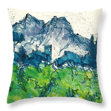 Throw Pillow featuring the painting Provence Landscape Alpilles by Martin Stankewitz