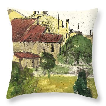 Throw Pillow featuring the painting Provence Landscape Sainte Marguerite by Martin Stankewitz