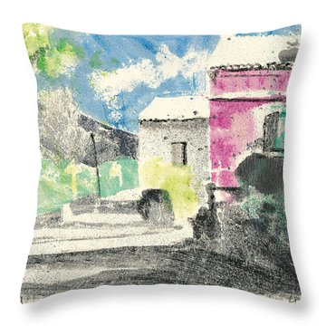 Throw Pillow featuring the painting Provence Landscape Village Cucuron by Martin Stankewitz