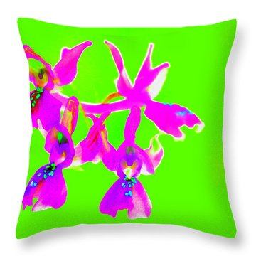 Green Provence Orchid  Throw Pillow