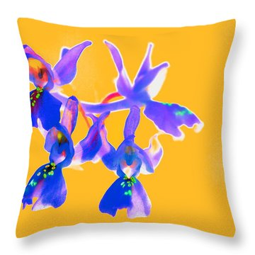 Orange Provence Orchid  Throw Pillow