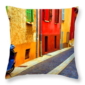Provence Street With Scooter Throw Pillow by Olivier Le Queinec