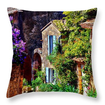 Provence Village Street In Spring Throw Pillow by Olivier Le Queinec