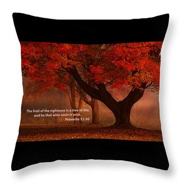 Throw Pillow featuring the photograph Proverbs 11 30 Scripture And Picture by Ken Smith
