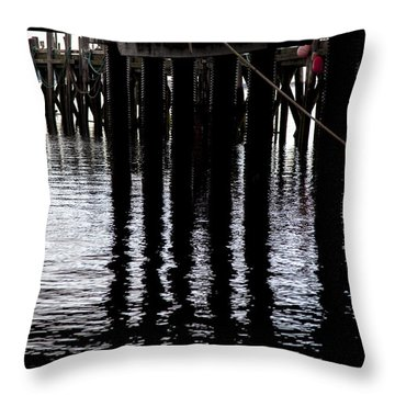 Throw Pillow featuring the photograph Provincetown Wharf Reflections by Charles Harden