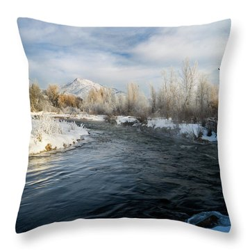 Provo River In Winter Throw Pillow