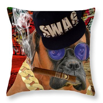 Throw Pillow featuring the mixed media Prowess by Marvin Blaine