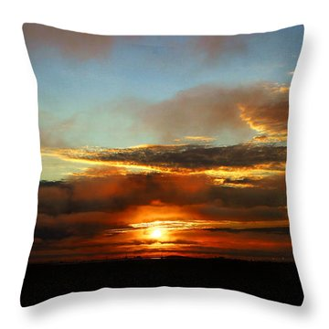 Prudhoe Bay Sunset Throw Pillow by Anthony Jones
