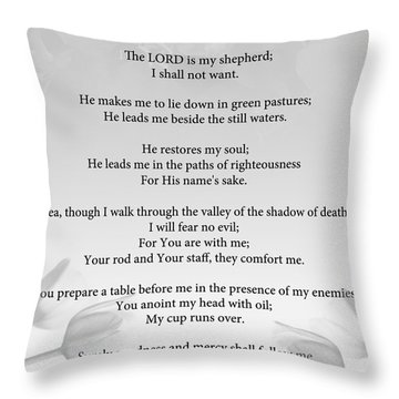 Throw Pillow featuring the painting Psalm 23 by Trilby Cole