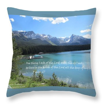 Throw Pillow featuring the painting Psalm 27 With Maligne Lake by Linda Feinberg