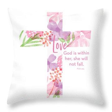 Psalm 46 5 Cross- Art By Linda Woods Throw Pillow