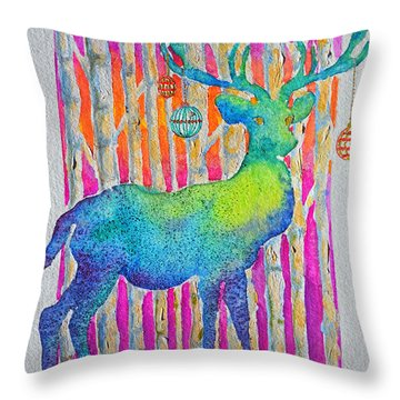 Throw Pillow featuring the painting Psychedeer by Li Newton