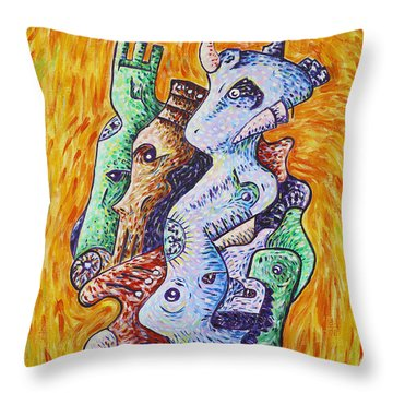 Psychedelic Animals Throw Pillow