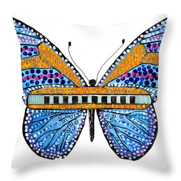 Psychedelic Blues Harmonica Throw Pillow