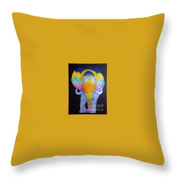 Psychedelic Elephant  Throw Pillow