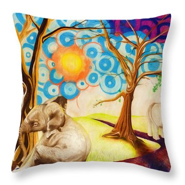 Throw Pillow featuring the drawing Psychedelic Elephants by Shawna Rowe