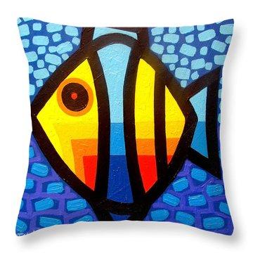 Psychedelic Fish Throw Pillow by John  Nolan