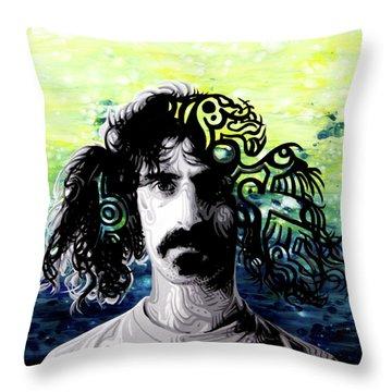 Psychedelic Frank Zappa Portrait Throw Pillow