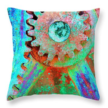 Psychedelic Gears Throw Pillow by Phyllis Denton