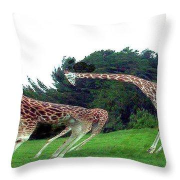 Throw Pillow featuring the digital art Psychedelic Giraffes by Merton Allen