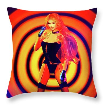 Psychedelic Hypnotic Pin-up Girl Throw Pillow