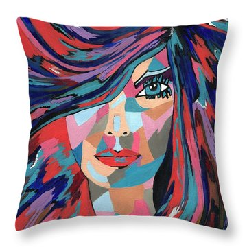 Psychedelic Jane - Contemporary Woman Art Throw Pillow