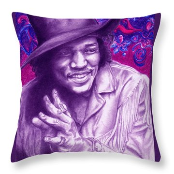 Psychedelic Jimi Throw Pillow