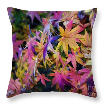 Psychedelic Maple Throw Pillow by Kaye Menner