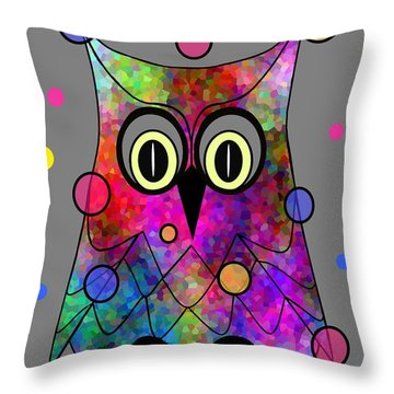 Psychedelic Owl Throw Pillow
