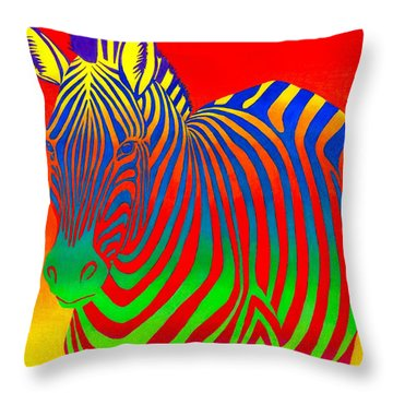 Psychedelic Rainbow Zebra Throw Pillow